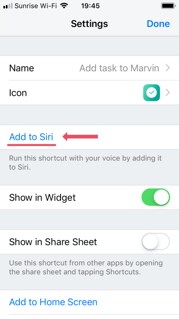 "Click ""Add to Siri"""