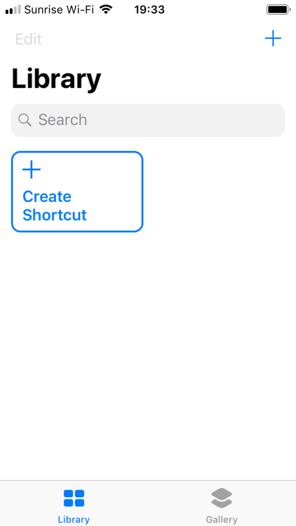 Creating a new shortcut