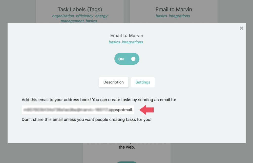 Copy your Amazing Marvin email address